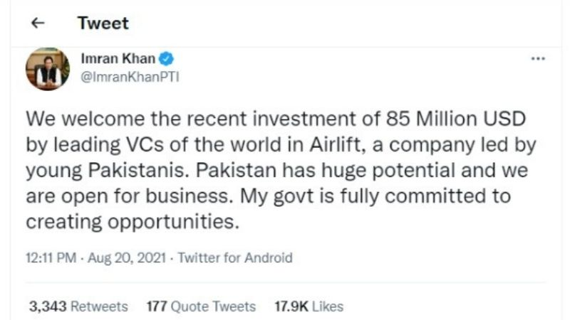 Imran Khan congratulated Airlift company for achieving an 85 Million dollars milestone.