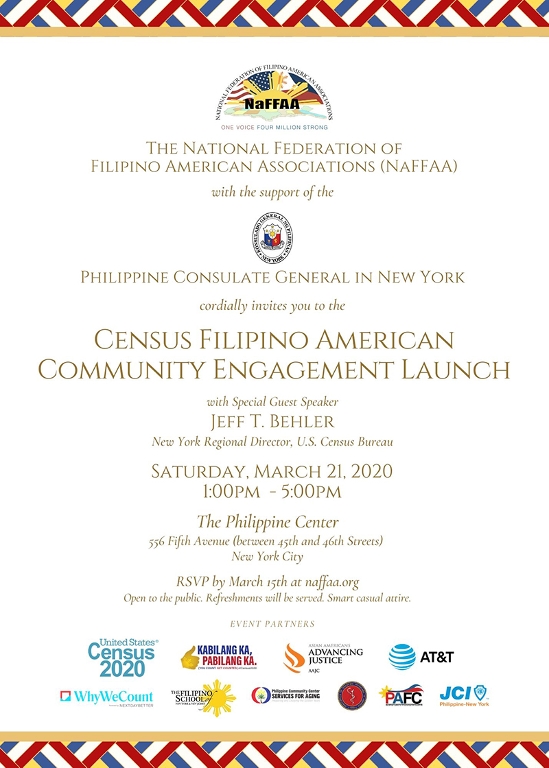 Census 2020 Engagement on March 21 at The Philippine Center, New York