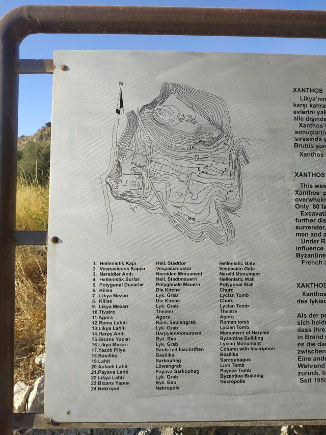 xanthos antik kenti yerleşke haritası