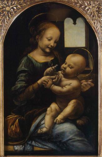madonna ve çiçekli çocuk da vinci