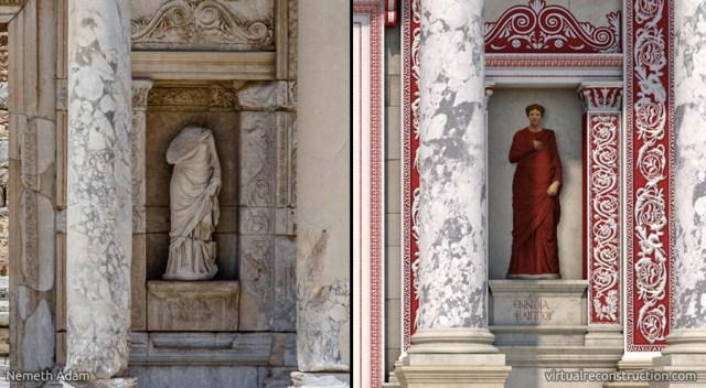 efes antik kenti celcus kütüphanesi 2000 yıl önceki kadın heykel çizimi ve günümüz