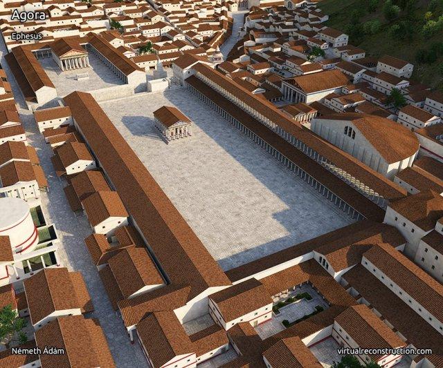 efes agorasının 2000 yıl önceki çizimi