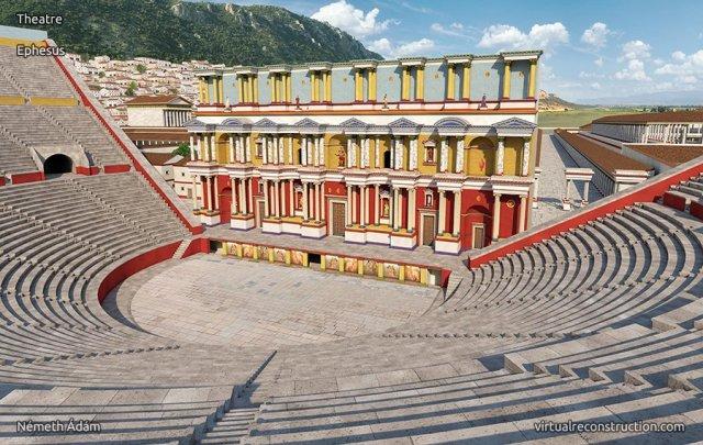 efes tiyatrosu 2000 yıl önceki çizimi