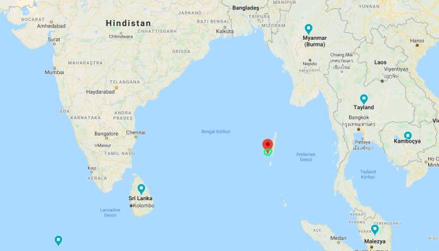 Kuzey Sentinel Adası  google maps