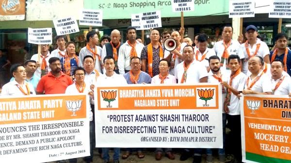 Naga headgear controversy: State BJP  burns Tharoor's effigy