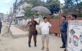Metsubo inspects footpath  construction in Dimapur