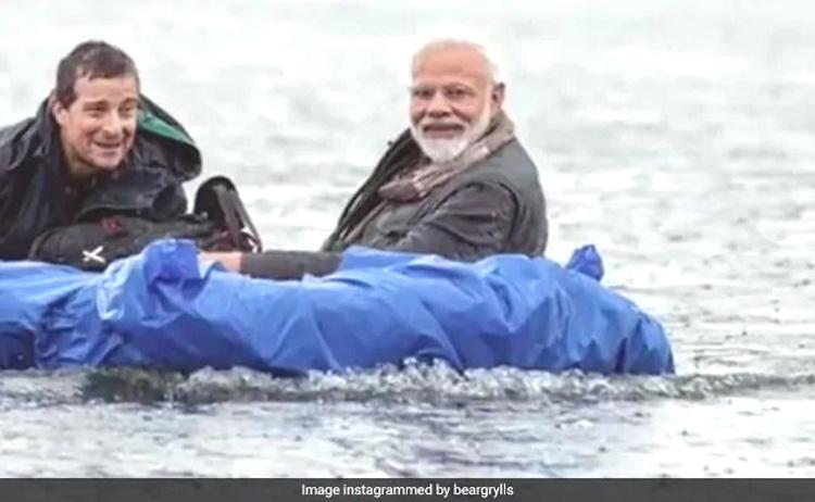Modi walks in the wild with Bear Grylls