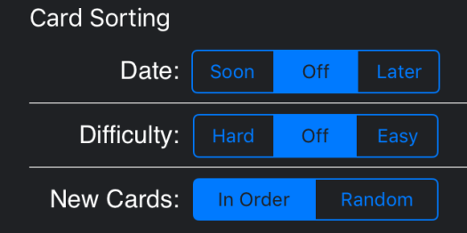 card sorting options