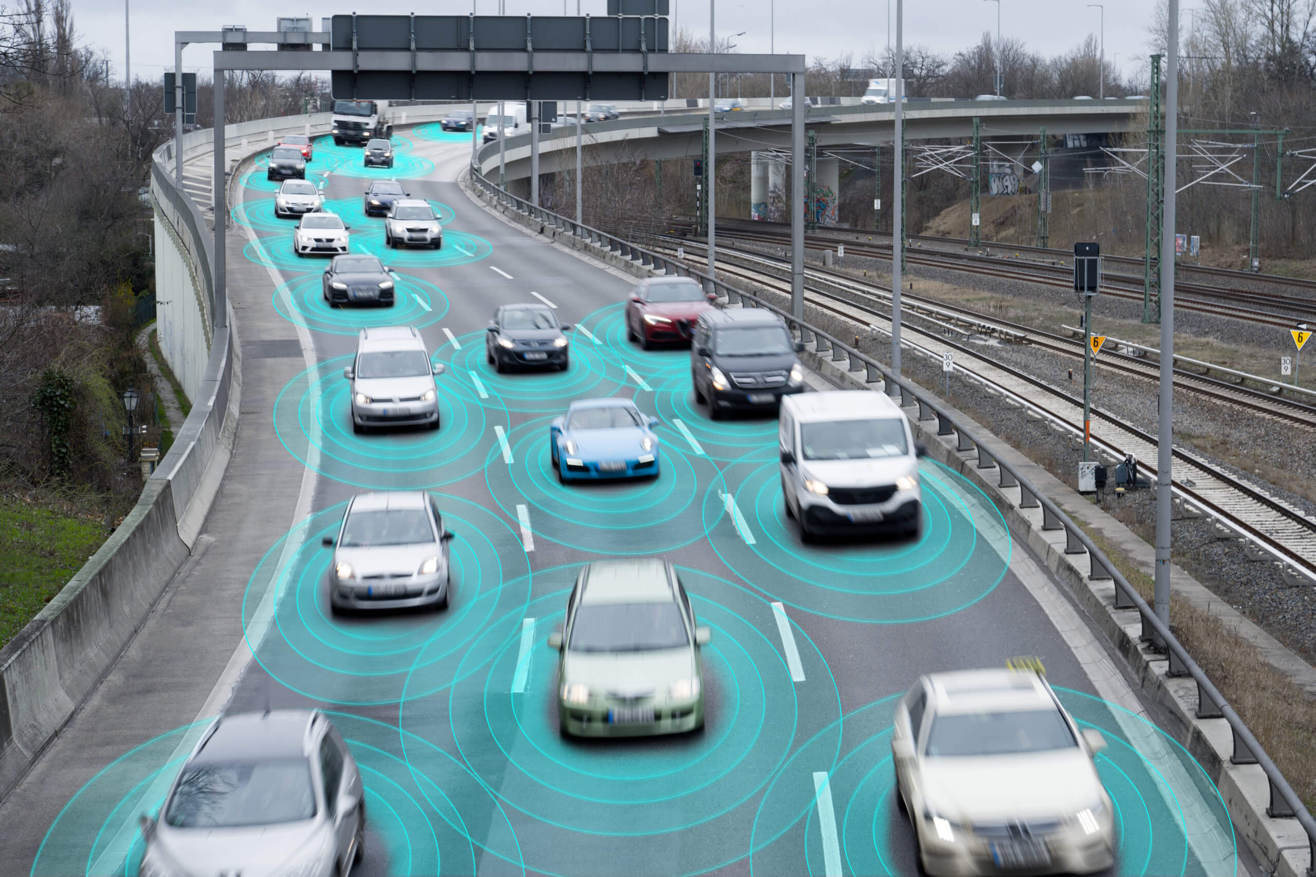 Self-driving cars, which are robots, on a highway.