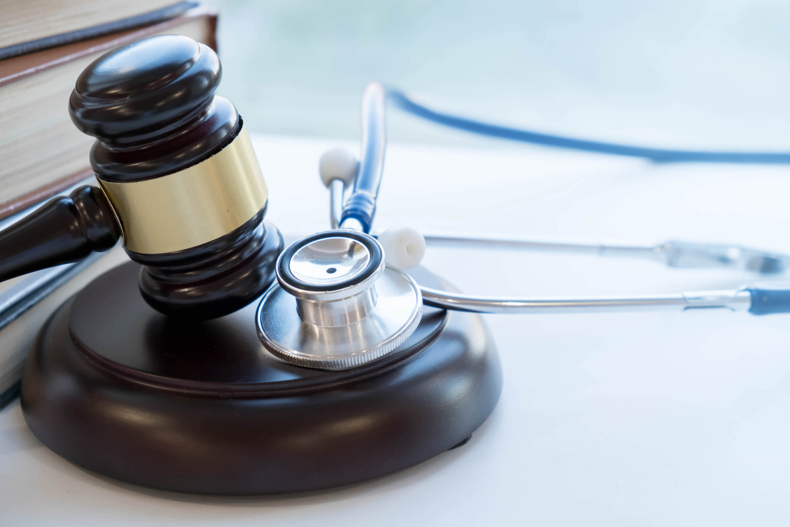 Gavel and stethoscope, concept of medical malpractice