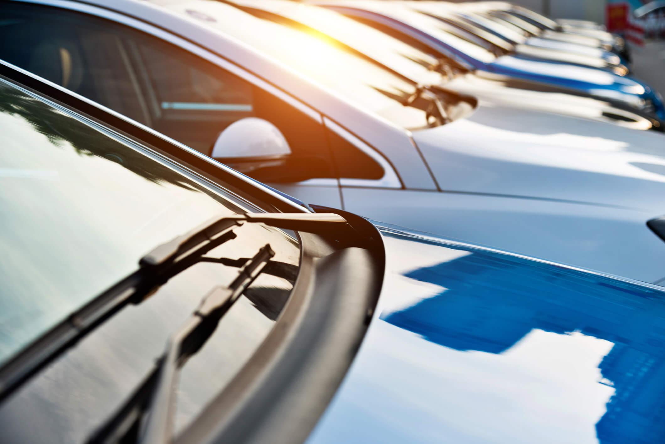 Line of rental cars.