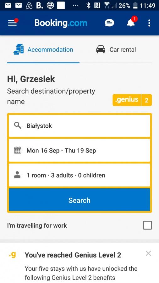 Aplikacja dla podróżników Booking.com.