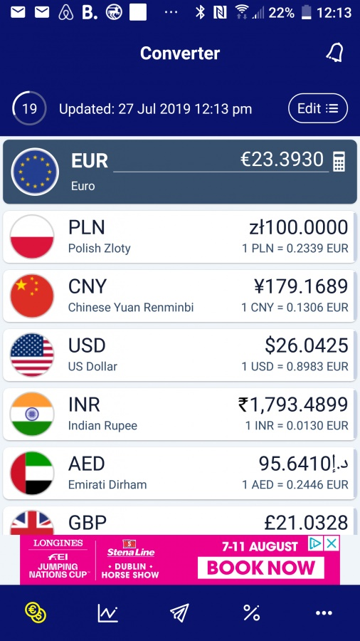 Aplikacja dla podróżników XE Currency.