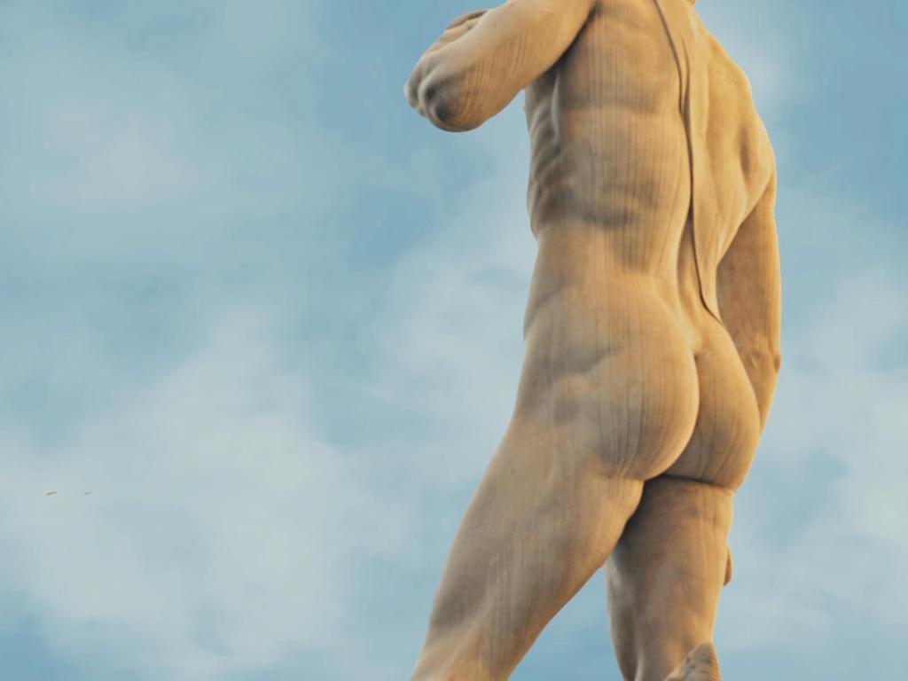 Posąg Dawida przed ratuszem w Florencji.