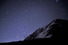 「満天の星空と常念岳」