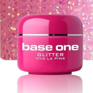 UV nagų gelis Base Glitter Classic Red