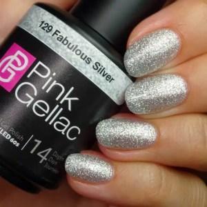 Profesionalus ilgalaikis gelinis lakas Pink GellacFabulous Silver 15 ml