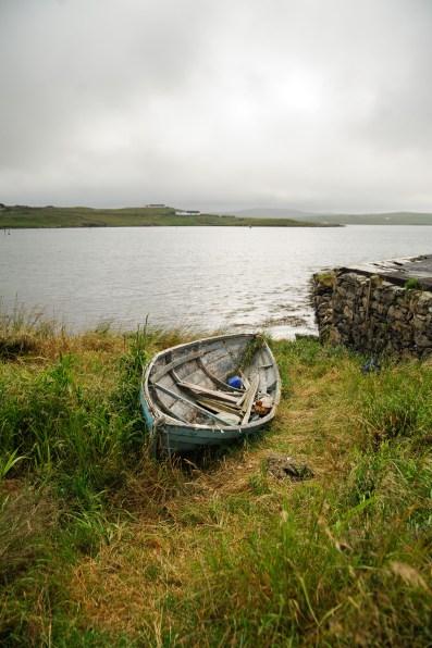 Altes Boot im Hafen von Walls (Mainland)