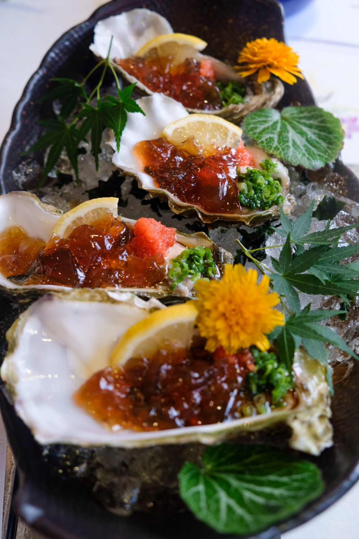 Sushi Airways, Dine In DC-3 Inspired Ambience - Oyster with Ponzu Jelly ($9 small, $15 medium, per piece)(seasonal item)