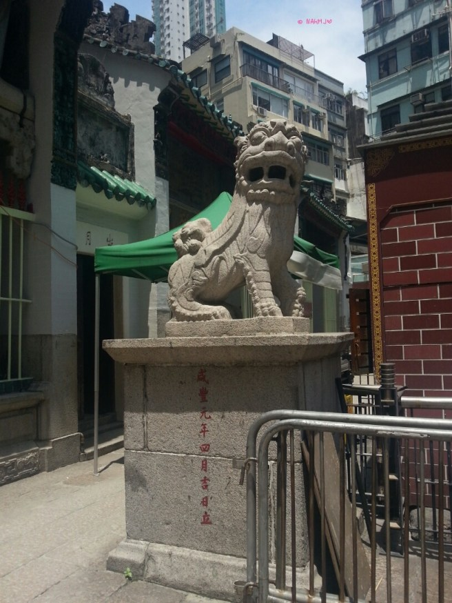 A Lion Statue at Man Mo Temple