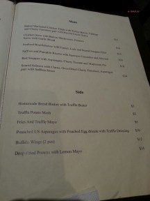 Food Menu for Main and Side