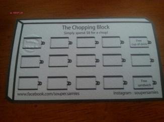 Souper Sarnies Loyalty Card, Chopping Block
