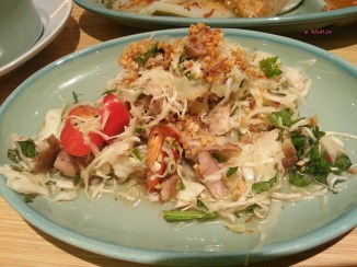Salad of Grilled Chicken, White Cabbage, Fresh Herbs, Roasted Peanuts