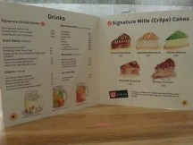 Drinks and Mille Crepe Cake Menu