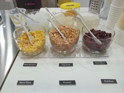 Available Toppings: Corn Flakes, Nata De Coco, Atap Seed, White Pearl, Sweet Corn, Peanut and Red Bean
