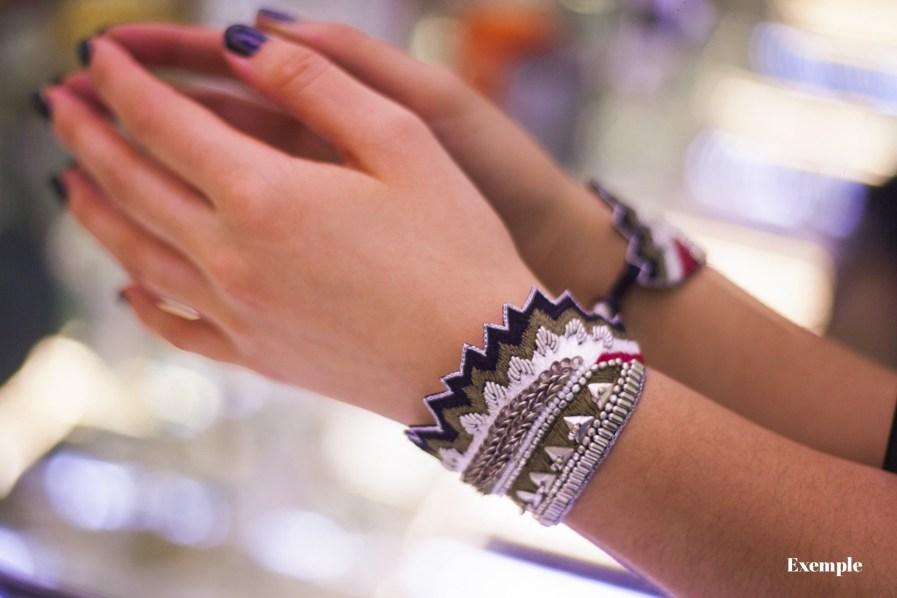 Bracelet ethnique Maheswari | Black/Coral | Photo 4
