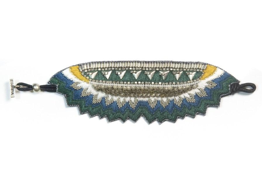 Bracelet ethnique Maheswari | Green/Honey | Photo 3