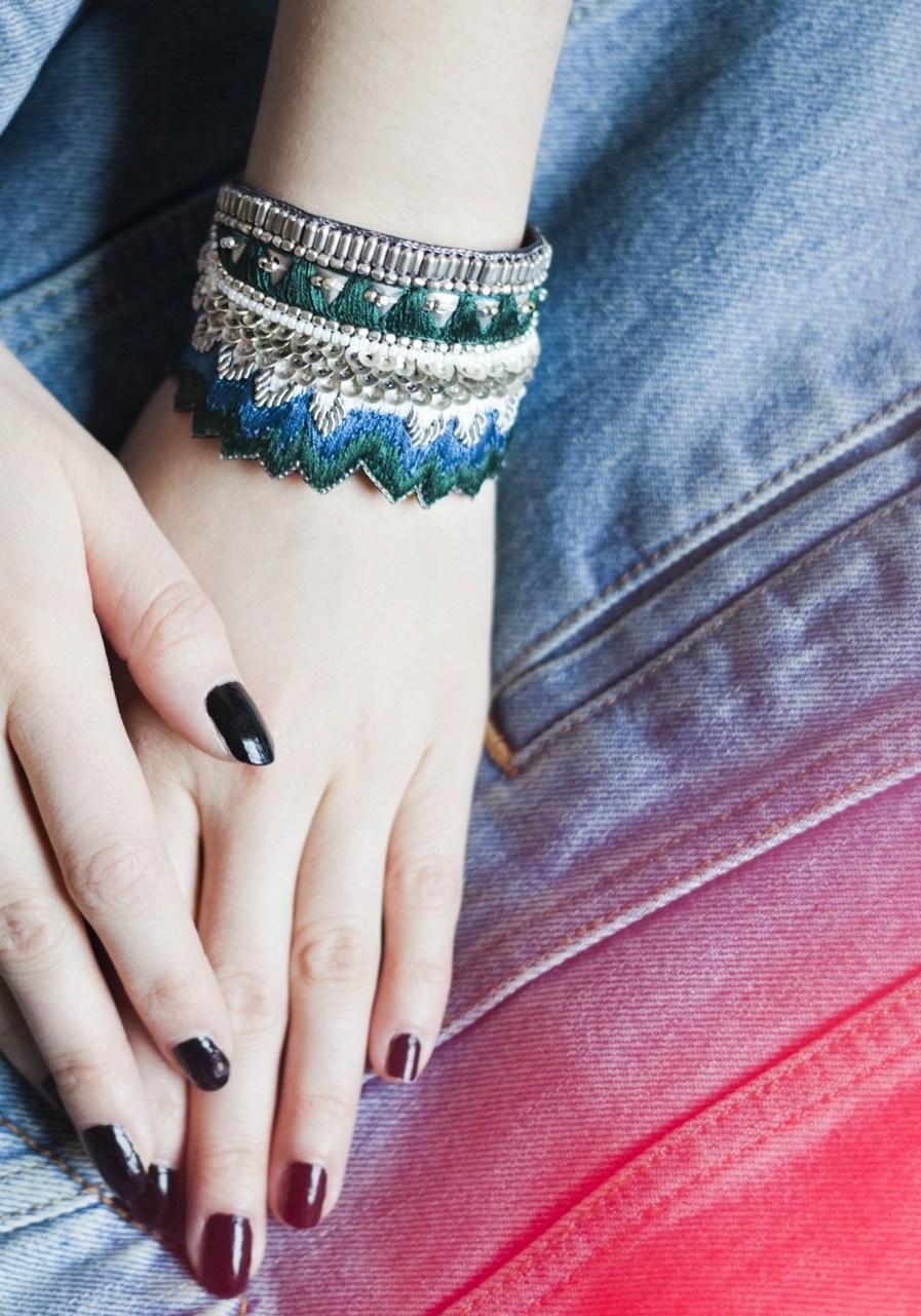 Bracelet ethnique Maheswari | Green/Honey | Photo 1