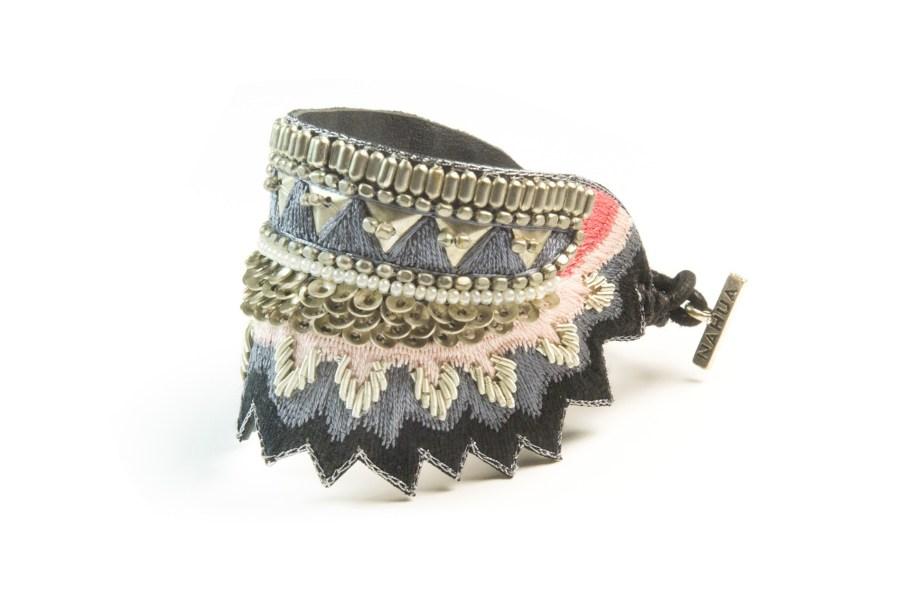 Bracelet ethnique Maheswari | Black/Coral | Photo 2