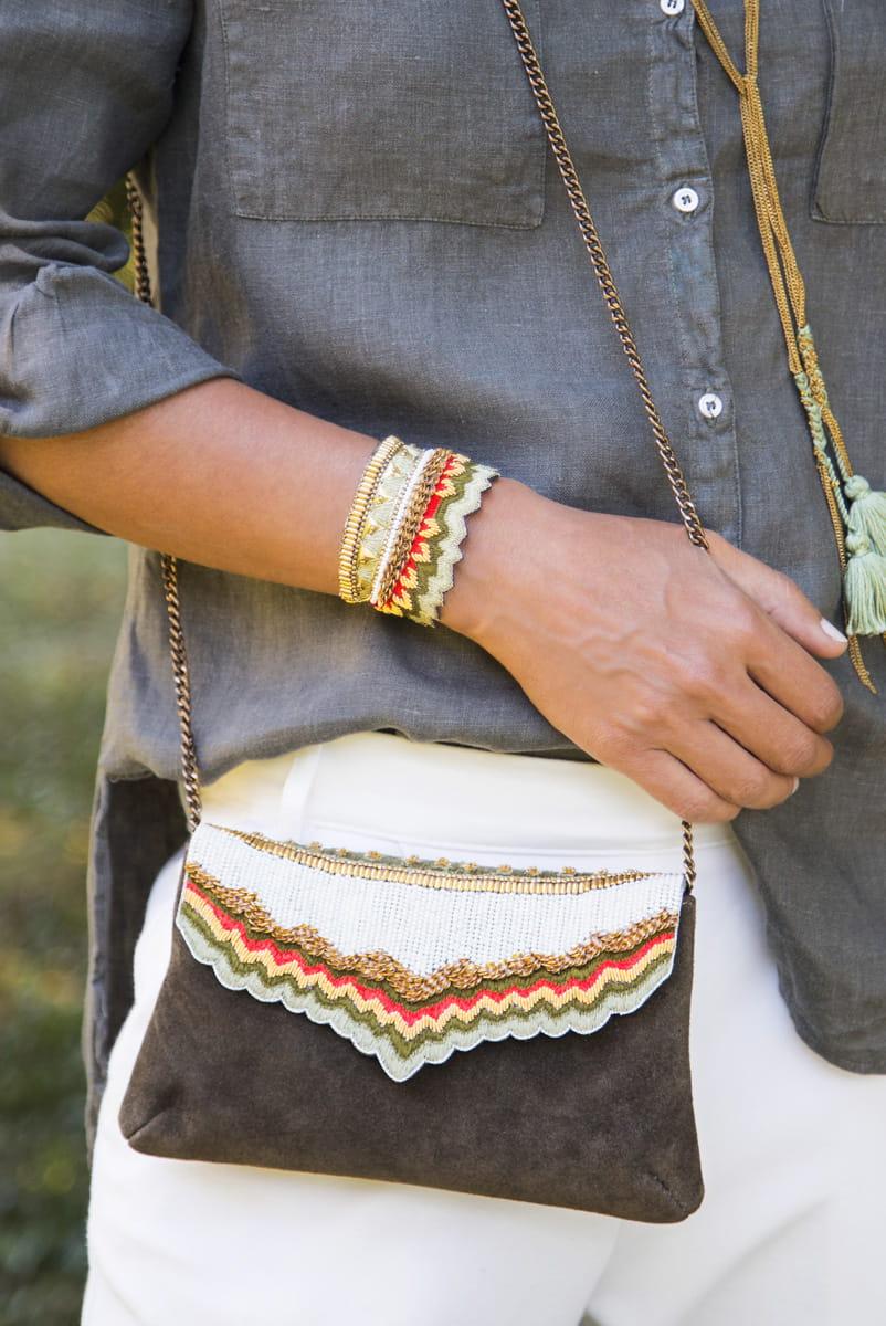 Bracelet ethinque Maheswari | Mousse/Corail | Photo 1