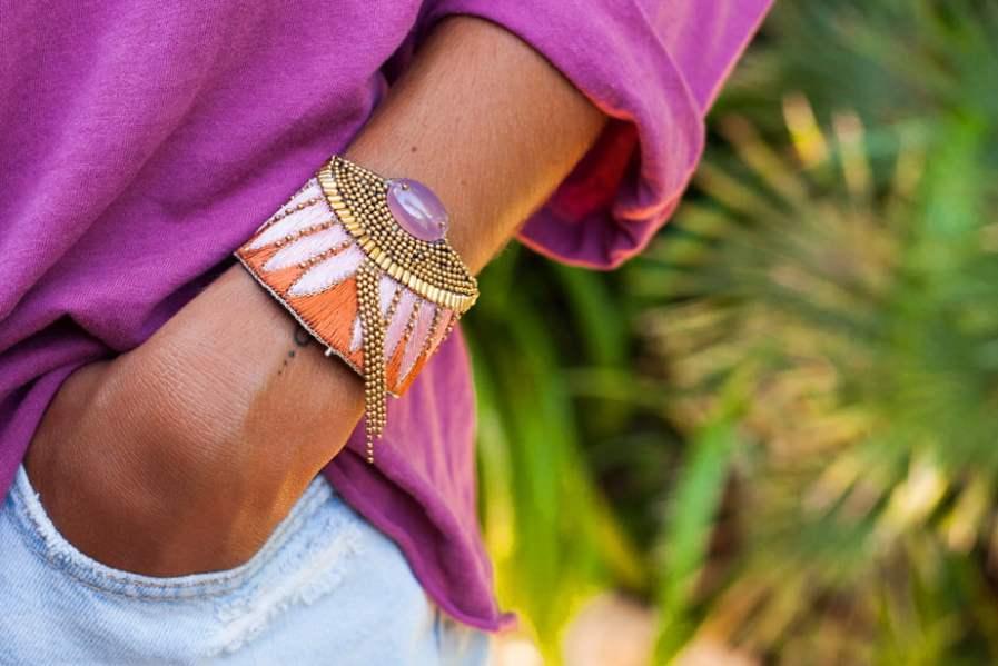 Bracelet ethnique Brahma | Nuts/Pink | Photo 1