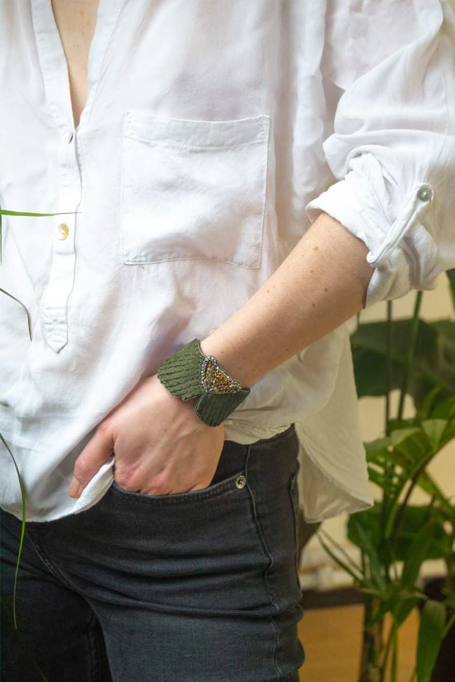 Bracelet cuir Angy | Military | Photo 1