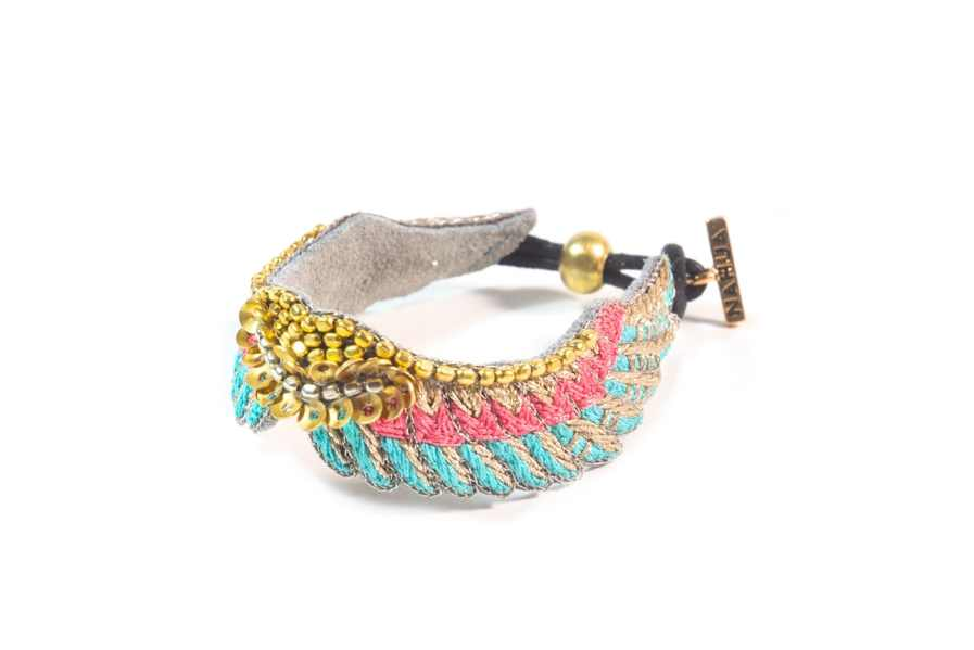 Bracelet bohème Shaila | Turquoise/Pink | Photo 2