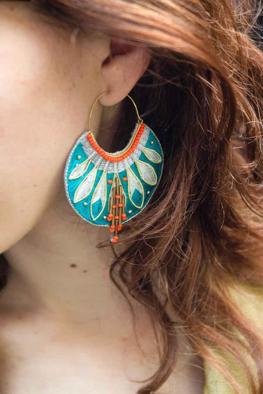 Boucles d'oreilles ethniques Apie | Green/Argile | Photo 1