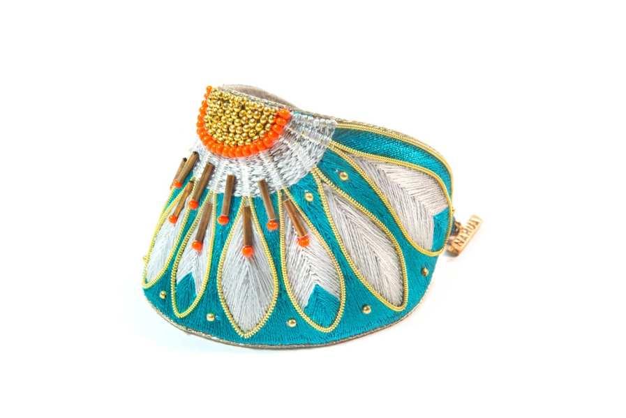 Bracelet ethnique Apache | Green/Argile | Photo 2