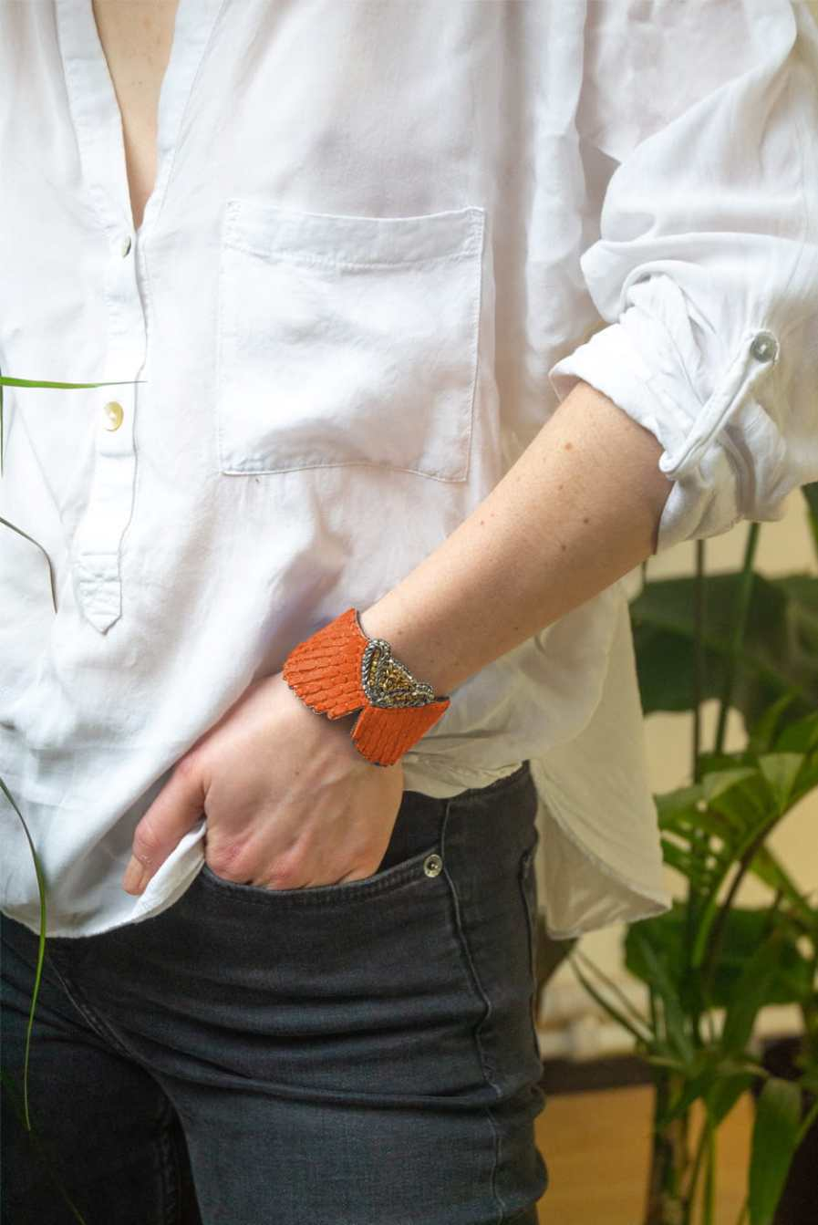 Bracelet cuir Angy | Mandarin | Photo 1