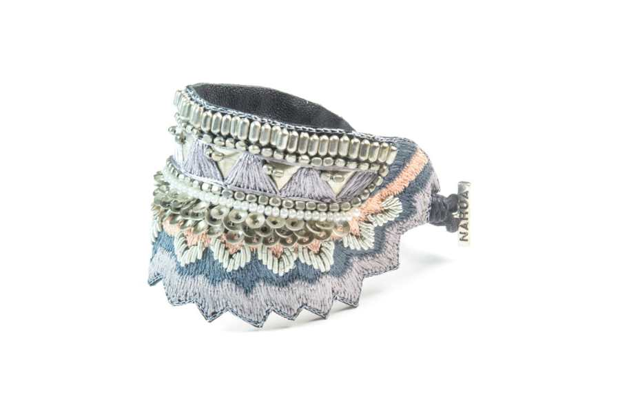 Bracelet ethnique Maheswari | Grey/Powder | Photo 2