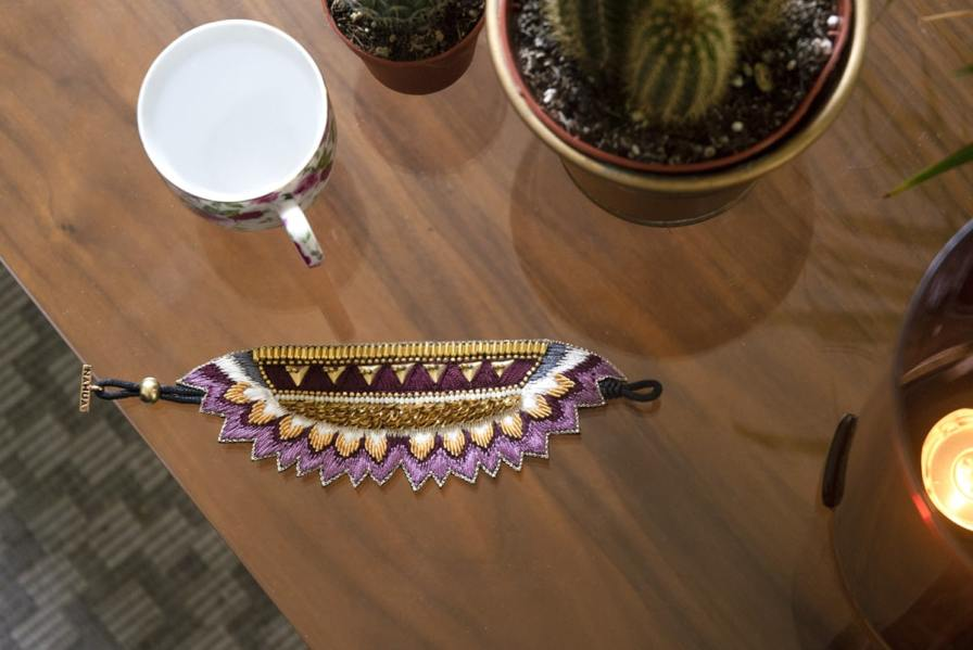 Bracelet ethnique Maheswari   Purple   Photo 3