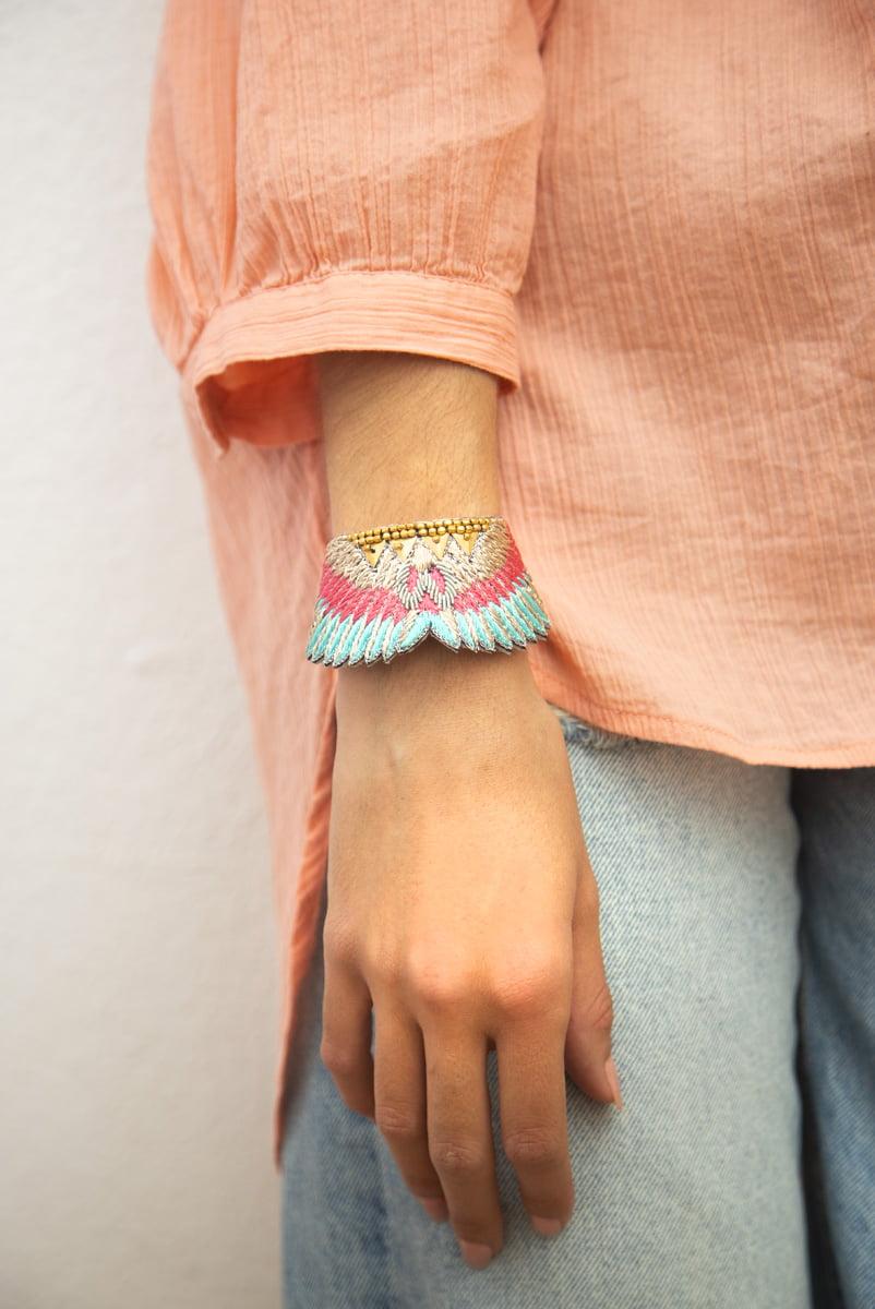 Bracelet bohème Shakti | Pink/Turquoise | Photo 1