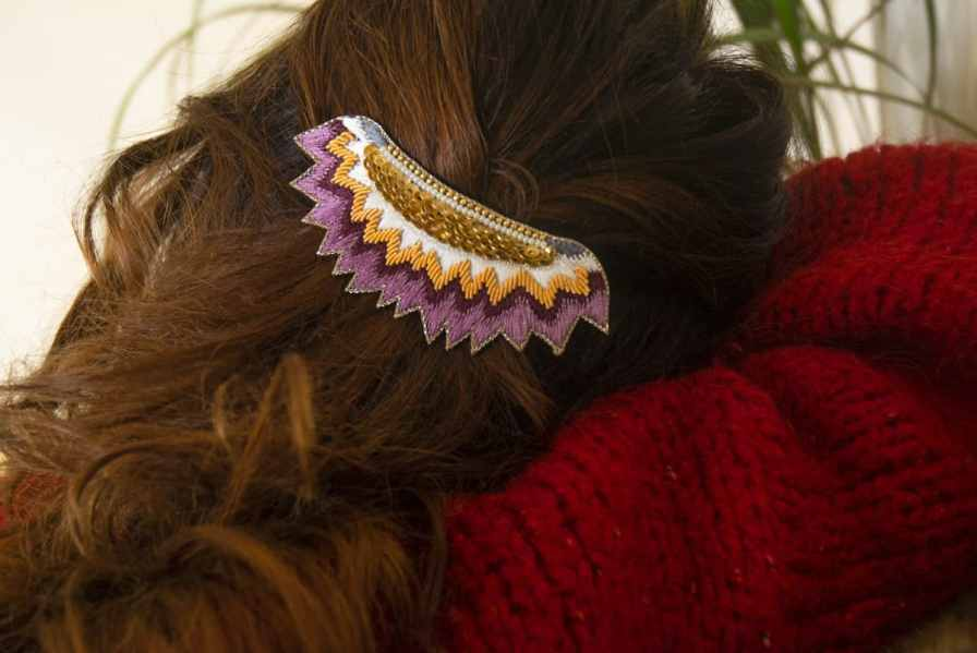 Barrette ethnique Macha | Purple | Photo 1