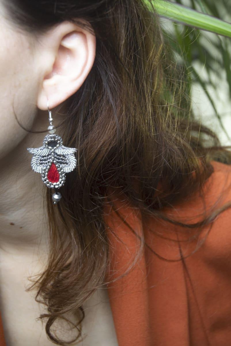 Boucles d'oreilles rock Opale | Corail | Photo 1