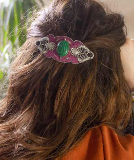 Barrette Opheline Green/Purple NAHUA