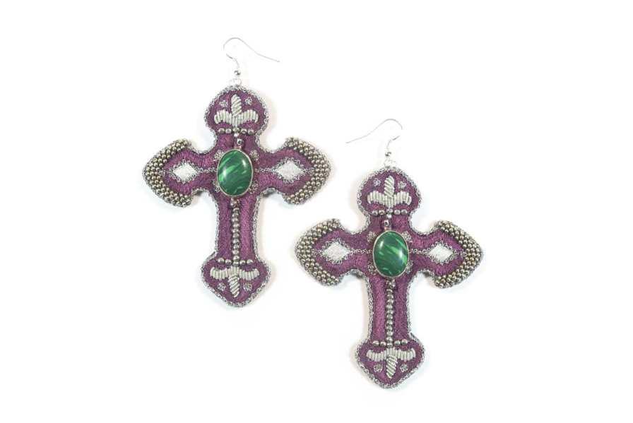 Boucles d'oreilles rock Opiace | Green/Purple | Photo 2