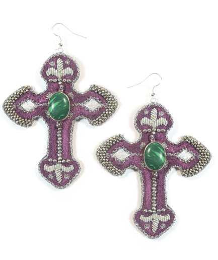 Boucles d'oreilles Opiace purple NAHUA