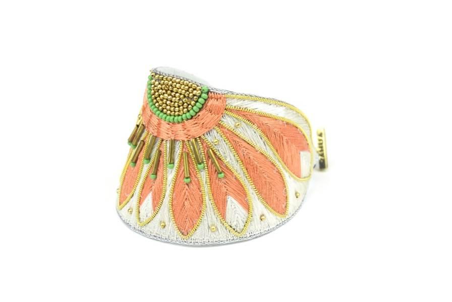 Bracelet ethnique Apache | Apricot/Cream | Photo 2