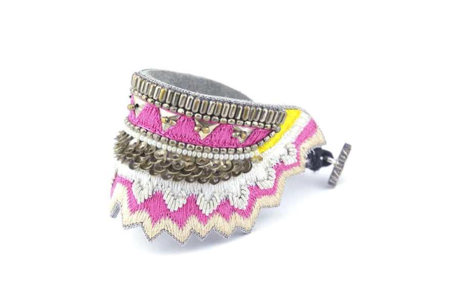 Bracelet ethnique Maheswari   Raspberry   Photo 2